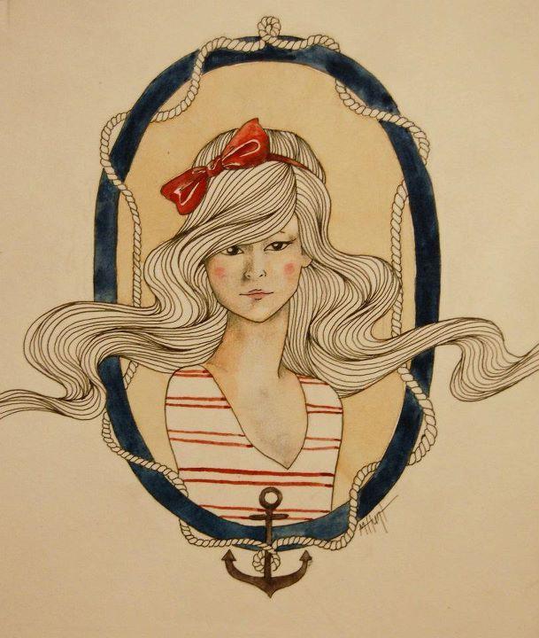 art, drawing, girl, illustration, nautical
