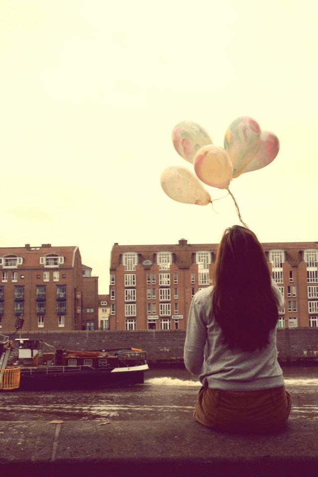 back, balloon, balloons, cute, girl