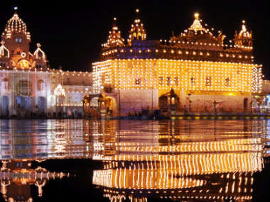 Golden temple all lit up for Gurpurab. PTI