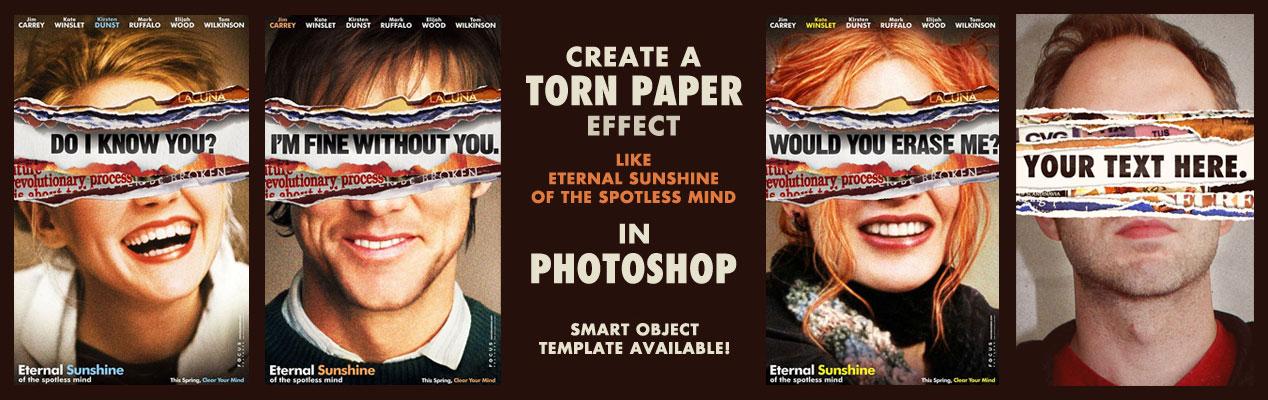 torn paper effect like eternal sunshine