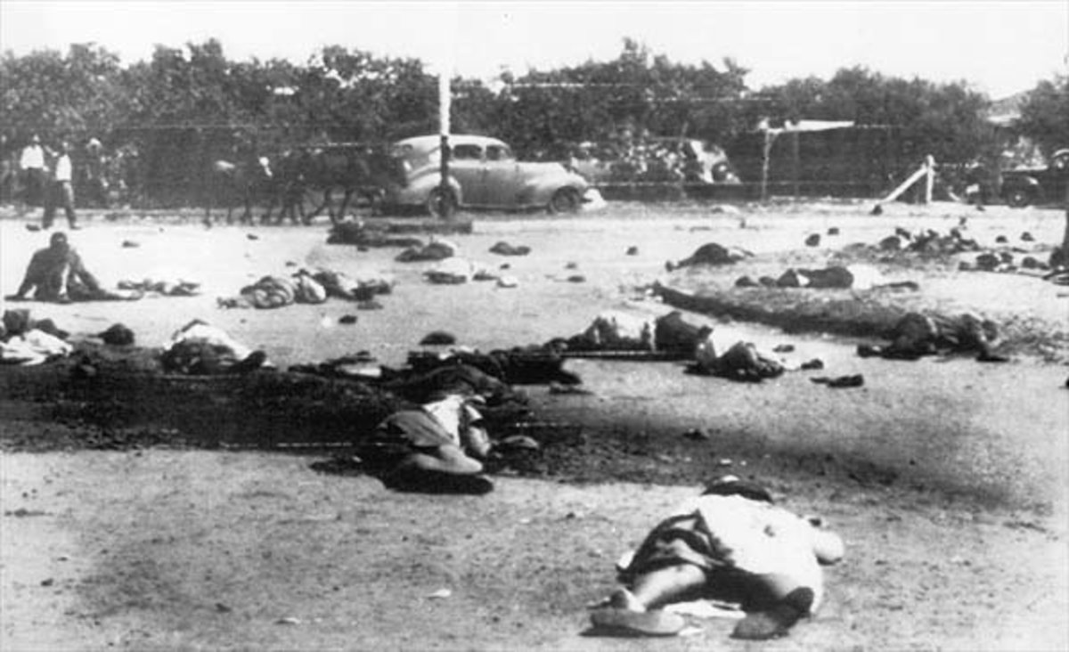 The Aftermath of the Sharpeville massacre in South Africa where people were shot in the back by police. Verwoerd was the prime Minister then.