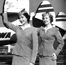 flight attendants waving