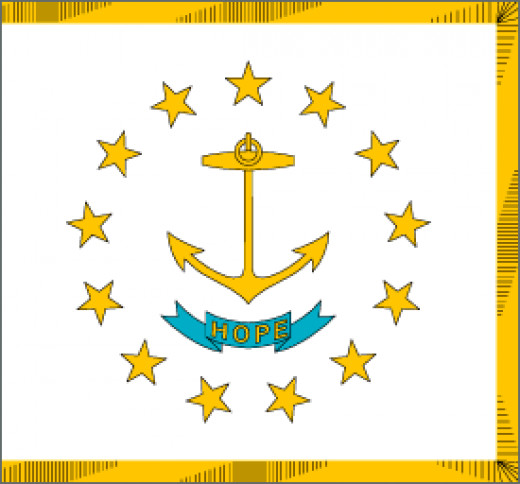 "Rhode Island State Flag Placed on a white field is a circle of thirteen gold stars representing the first thirteen states. The stars surround a gold ship's anchor. The states motto "" Hope"" is on a blue ribbon below the anchor."