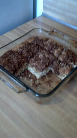 This  streusel coffee cake is still warm. It is so good that my family couldn't wait to sample it.