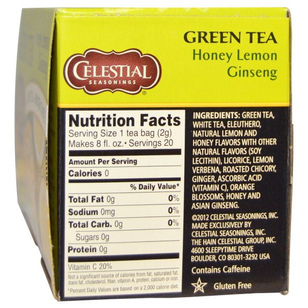 Celestial Seasonings Green Tea Honey Lemon Ginseng 20