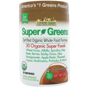 Country Farms, Super Greens, C، صيغة الأطعمة الكاملة الغضوية المرخصة، نكهة الشوكولا الشهية، 10.6 أوقية (300 غ).