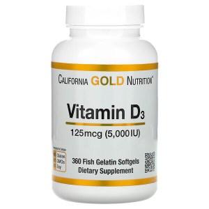 California Gold Nutrition, Vitamin D3, 125 mcg (5,000 IU), 360 Fish Gelatin Softgels