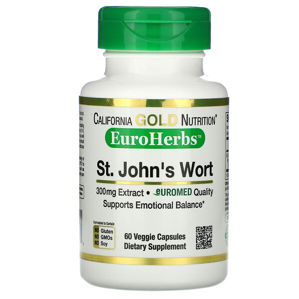 California Gold Nutrition, セントジョンズワートエキス、EuroHerbs(ユーロハーブ)、ヨーロッパ品質、300mg、ベジカプセル60粒