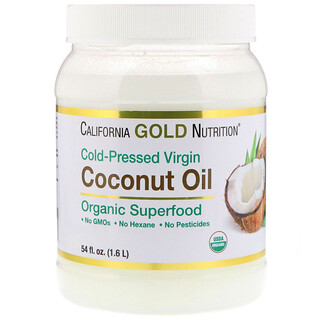 California Gold Nutrition, زيت جوز هند عضوي بكر، طعام فائق القيمة الغذائية، مُستخلص على البارد، غير مُكرر54 fl oz (1.6 L)