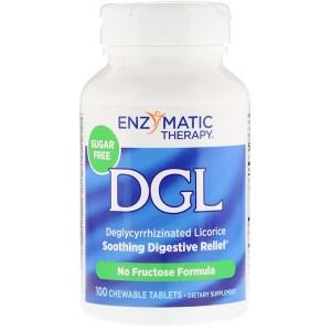Enzymatic Therapy, DGL, 3:1 甘草リコリス、チュワブルタブレット100錠
