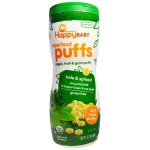 Happy Family Organics, Organics، مخبوزات الأطعمة السوبر، خضراوات، فاكهة وحبوب، كيل وسبانخ، 2.1 أونصة (60 غ)