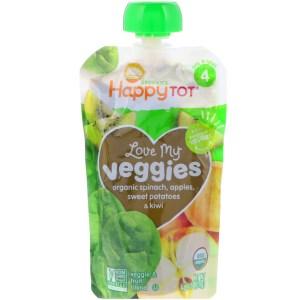 Happy Family Organics, Organics Happy Tot, Love My Veggies, Spinach, Apples, Sweet Potatoes & Kiwi, 4 Pouches - 4.22 oz (120 g) Each