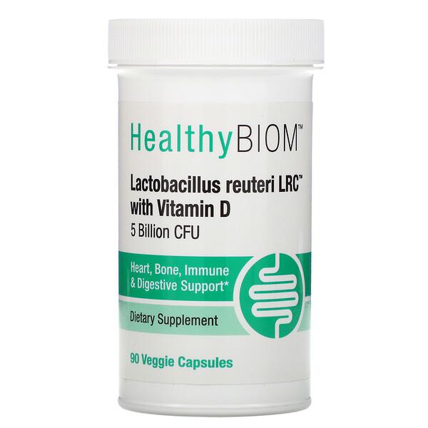 HealthyBiom, ビタミンD入りラクトバチルスロイテリLRC、50億CFU、ベジカプセル90粒