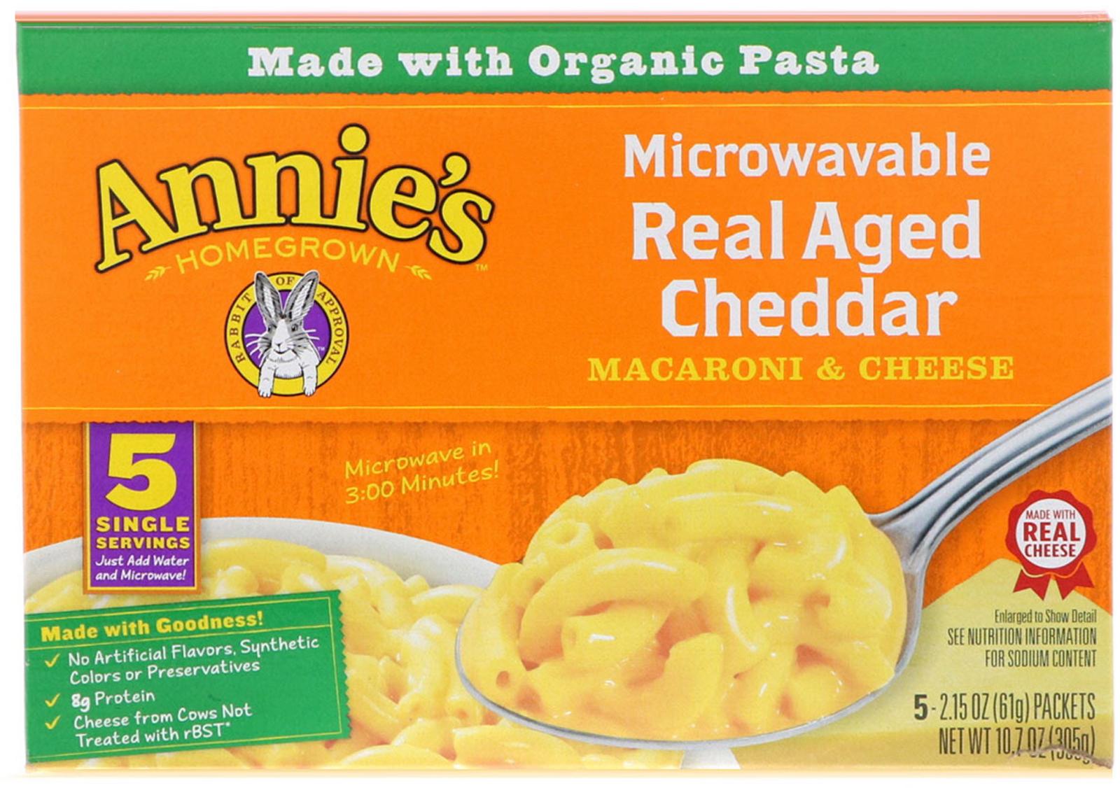 annie s homegrown microwavable mac cheese real aged cheddar 5 packets 2 15 oz 61 g each