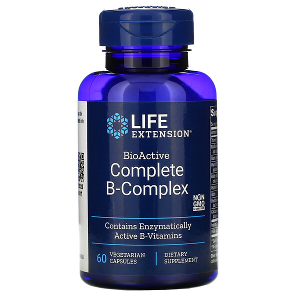 Life Extension, バイオアクティブコンプリートBコンプレックス、ベジカプセル60粒