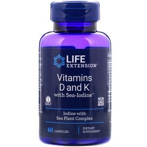 Life Extension, ビタミンD、ビタミンK、海ヨウ素、カプセル60粒