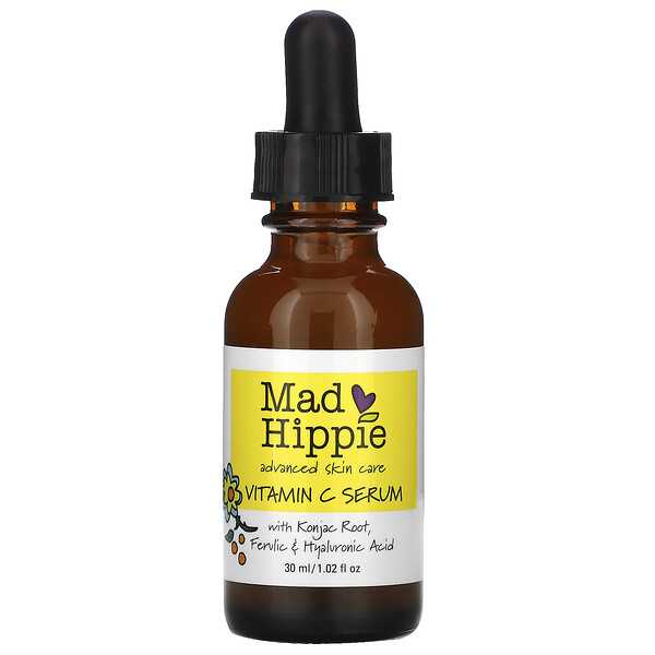 Mad Hippie Skin Care Products, ビタミンCセラム、8アクティブ、30ml(1.02液量オンス)