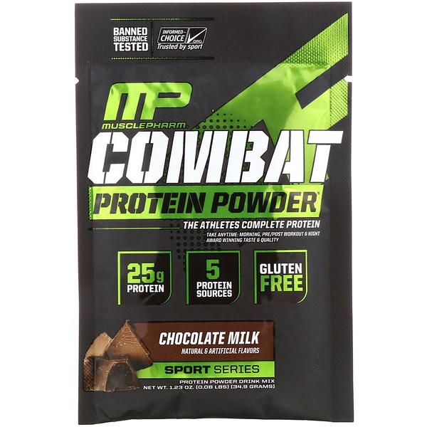 MusclePharm, コンバットプロテインパウダー、チョコレートミルク、1.23オンス (34.9 g) トライアルサイズ