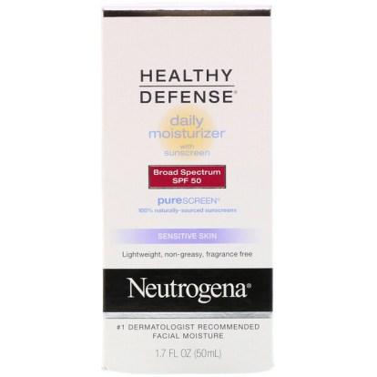 "Neutrogena, הגנה בריאה, קרם לחות יומי עם מקדם הגנה, רחב ספקטרום SPF 50, עור רגיש, 1.7 אונקיות נוזליות (50 מ""ל)"