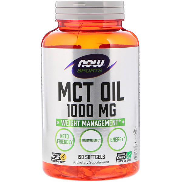 Now Foods, Sports, MCTオイル, 1000 mg, ソフトジェル150粒