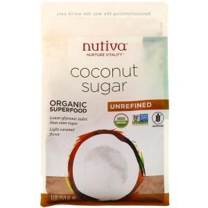 Nutiva, سكر جوز هند عضوي، 1 رطل (454 جم)