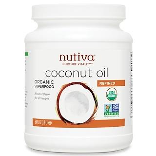 Nutiva, زيت جوز الهند العضوي المصفّى، 54 أونصة سائلة (1.6 ليتر)