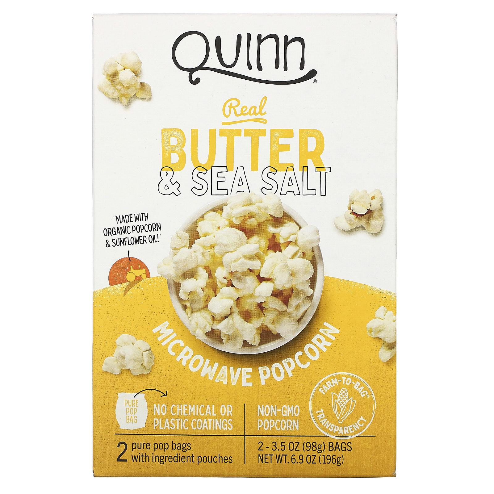 quinn popcorn microwave popcorn real butter sea salt 2 bags 3 5 oz 98 g each