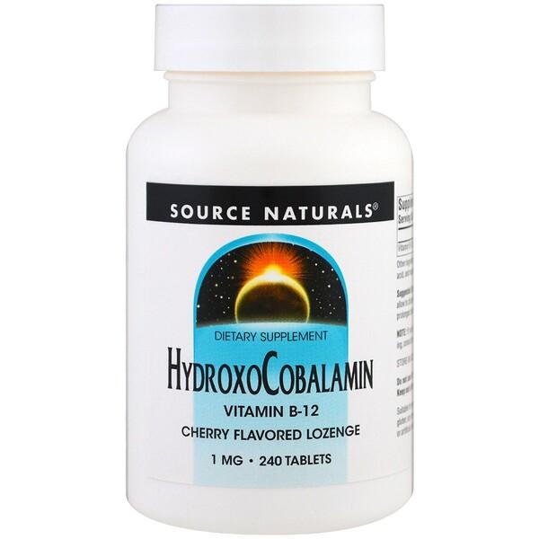 Source Naturals, ヒドロキソコバラミン, ビタミンB-12, チェリーフレーバー薬用キャンディー, 1 mg , 240錠