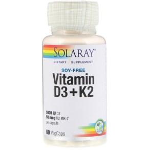 Solaray, ビタミンD3 + K2、大豆不使用、ベジカプセル60個