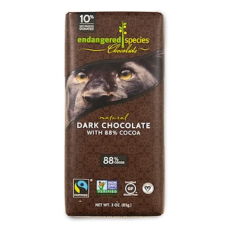 Endangered Species Chocolate, شوكولاتة داكنة طبيعية بالكاكاو 88%، 3 أونصات (85 غرام)