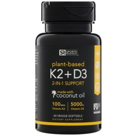 Sports Research, ビタミンK2+D3、100mcg/5000IU、植物性ソフトゲル60粒