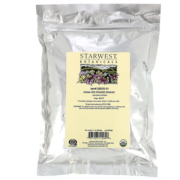 Starwest Botanicals, オーガニック ヘナパウダー、 Red、 1 lb (453.6 g)