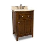 Jeffrey Alexander Van090 24 T Chocolate Cream Marble Catham Shaker Collection 24 Inch Bathroom Vanity Cabinet With Counter Top And Bowl