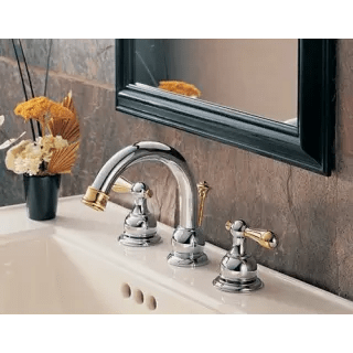 polished brass faucet lavatory double