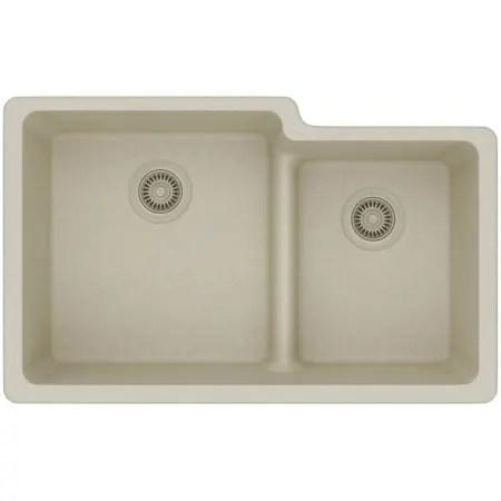 Elkay ELGULBO3322BQ0 Bisque Gourmet 33 Double Basin Granite Composite Kitchen Sink For