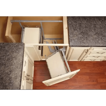 Rev A Shelf 599 18 RMP Maple Two Tier Right Door Mount Blind Corner Pull Out Organizer For Blind