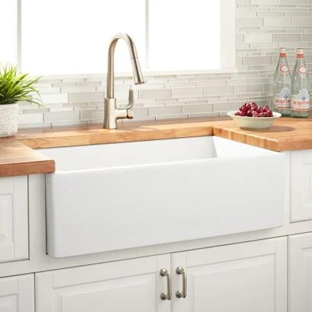 signature hardware 422812 white grigham 33 single basin on farmhouse sink lowest price id=42129