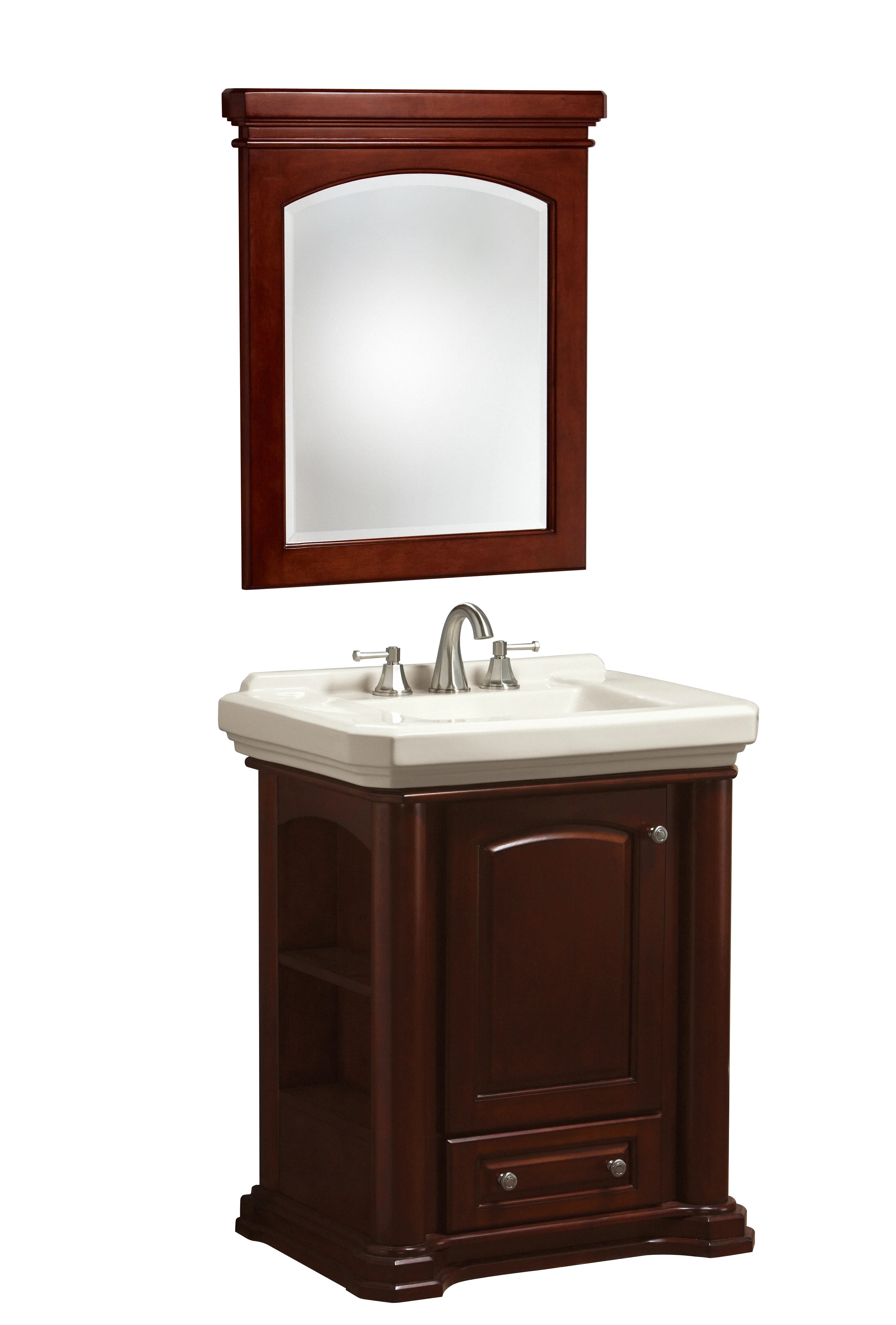 Danze D990065bc Mahogany Biscuit 28 5 8 Cirtangular Knightsbridge Vanity Combo Includes Vanity Sink Mirrored Cabinet And Toilet Faucetdirect Com