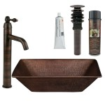 Premier Copper Products Bsp1 Vrec17wdb Oil Rubbed Bronze 17 1 4 Rectangular Copper Vessel Bathroom Sink With 1 2 Gpm Vessel Bathroom Faucet Pop Up Drain Installation Silicone And Sink Wax Faucet Com