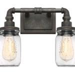 Roseto Mvbf5037rstb Rustic Black Wallace 2 Light 14 Wide Bathroom Vanity Light Lightingdirect Com