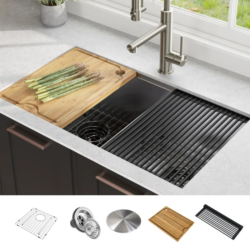 kraus kraus kwu112 33 kore 33 undermount double basin stainless steel kitchen sink basin rack strainer cutting board and drying mat included