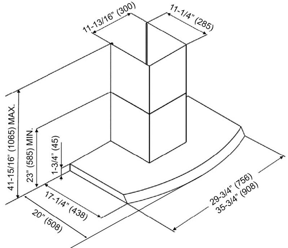 Kobe Rax Sqb Wm 2 680 Cfm 36 Inch Wide Wall Mount Range