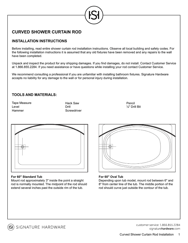 Curved Shower Curtain Rod Installation Instructions