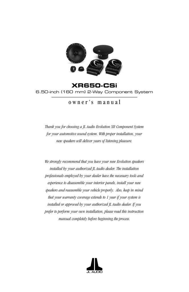 jl audio xr650csi owner's manual  manualzz