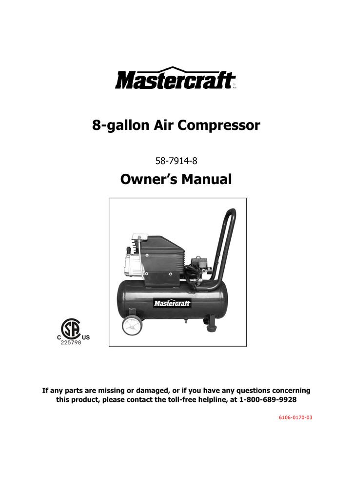 8 Gallon Air Compressor Owner S Manual