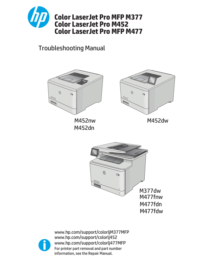 Hp Color Laserjet Pro M452 And Mfp M477 Manualzz Com