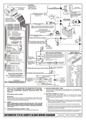 AUTOWATCH 279 RL REMOTE ALARM WIRING DIAGRAM | manualzz