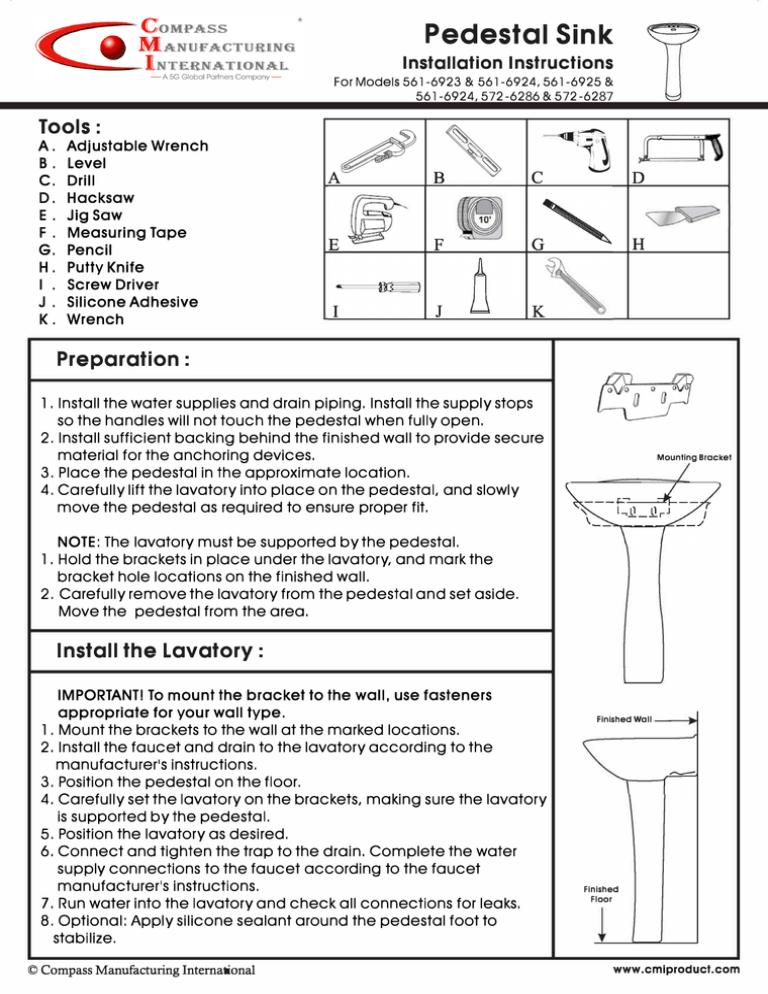 pedestal sink installation manualzz