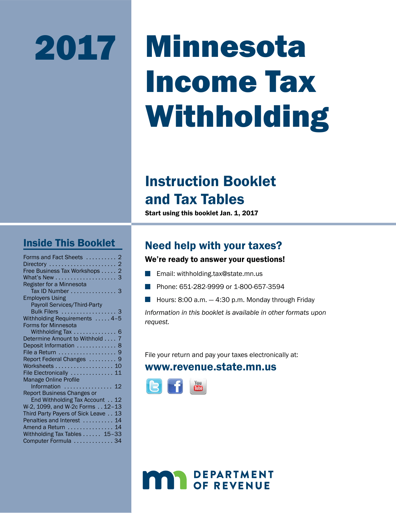 Minnesota Withholding Tax Instructions And Tables