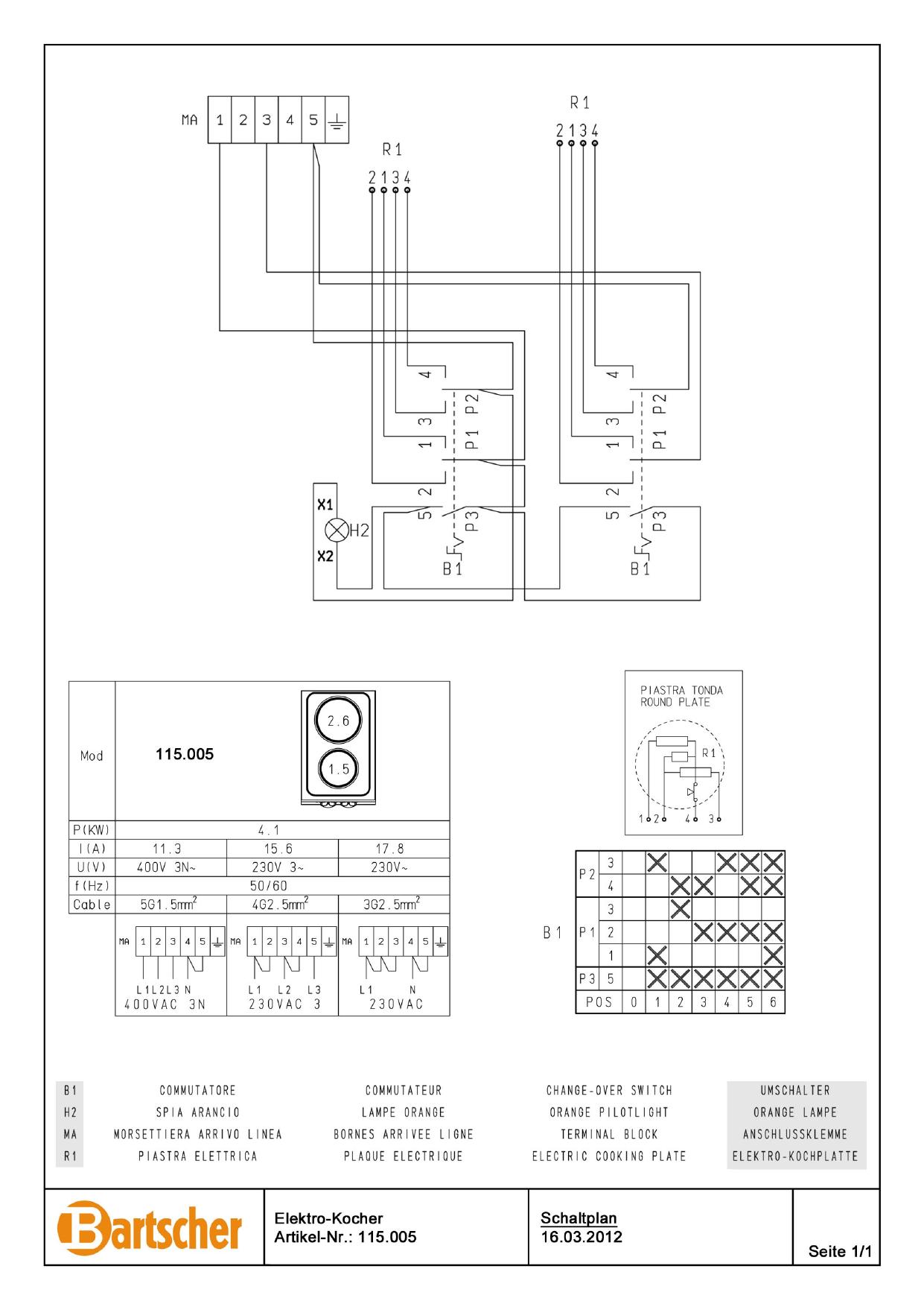 Bartscher Electric Stove 650 W400 2pl Tu Wiring